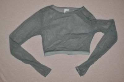 Natalie  Child size Medium gray sheer  mesh  dance  crop  Top  item # N8788