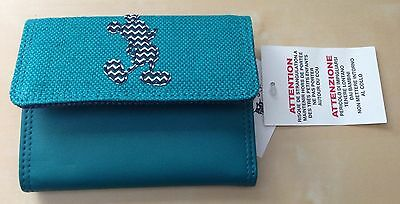 Disney Parks Authentic Teil Green Leather & Fabric with Mickey Wallet New / Tags