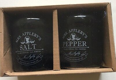 Job Lot 4 x  Mrs Appleby's Salt And Pepper Shakers Black With White Writing.