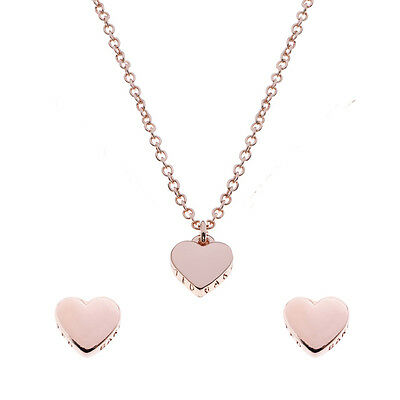 Ted Baker Ladies Heart Stud Earrings & Necklace Gift Set Jewellery Rose Gold New