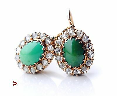 Antique Earrings solid 18K Rose Gold Turquoise Diamonds / 4.7