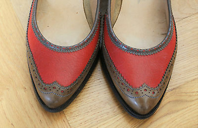 Gorgeous Vintage Party Heels Shoes Red Leather Size 4 Brogue 1970's