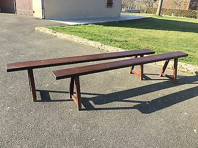 Antique Vintage French Country Farmhouse Fruitwood Benches Rustic Pair