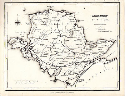 ANTIQUE STEEL ENGRAVED MAP OF ANGLESEY - SIR FON - WELSH RAILWAYS (c.1870)