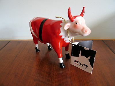 2002 COW PARADE Figurine SANTA COW Ceramic Estate Collection Ornament Christmas