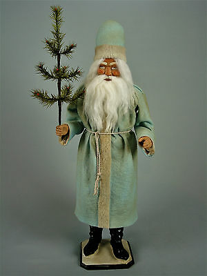"""24,2""""Paper mache*German  Santa* candy container *(pale blue)by Paul Turner"""