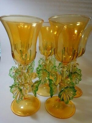 Set of 8 Italian Murano Art Glass Goblet Wine/ Water with Floral Stemware.