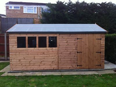 16x10WOODEN  HEAVY DUTY SHED /WORKSHOP13MM RED WOOD 3X2CLS FRAME WORK