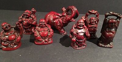 Set of 7 Vintage Red Feng Shui Laughing Happy Buddha Elephant Figures Statue