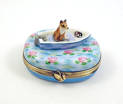 New French Limoges Trinket Box Cute Fox Animal In Boat On Waterlily Pond
