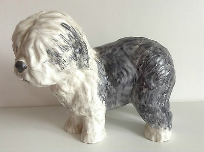 "Vintage Old English Sheep Dog Pottery Figure, Hand-painted 5.5"" Tall"