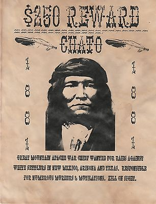 Indian Chief~(I Combine Shipping)~Wanted,poster,indian,old West,western