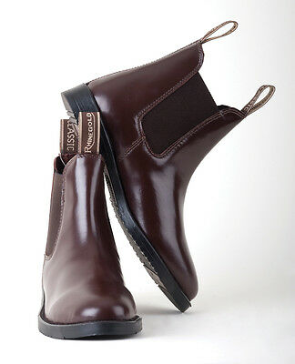 Rhinegold Comfey Classic Leather Horse Riding Jodhpur Boots Adult Black/brown