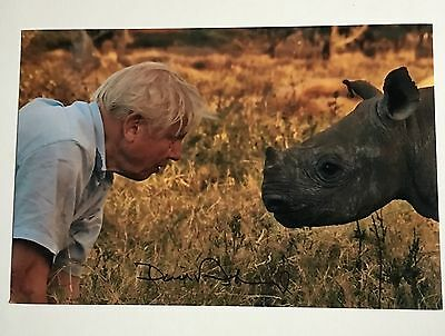 SIR DAVID ATTENBOROUGH SIGNED 12x8 PHOTO NATURE WILD PLANET RHINOCEROS GENUINE