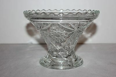 Vintage  Squatty  Anchor Hocking Vintage Clear Prescut Glass Star of David Vase