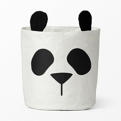 Panda Canvas storage bin, toy bag, basket, modern, cotton, nappy bin, monochrome