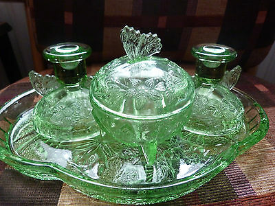 Art Deco Green Glass 4 Piece Butterfly Dressing Table Set Sowerby vintage