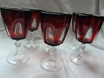 Vintage 6 Wine Glasses Ruby Red & Clear French Crystal Glass D'arques Durand