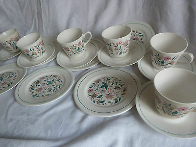 "QUEEN ANNE Bone China Stylised Floral ""KISMET"" Tea TRIO  x 6 perfect"