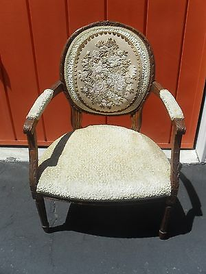 ANTIQUE Hand Carved  Victorian Style Wood Parlor Chair FAMILY HEIRLOOM 100+ YRS.