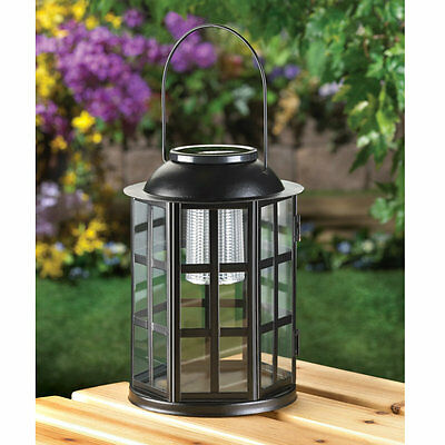 2 Iron Outdoor Garden Lights Solar Patio Hanging or Tabletop