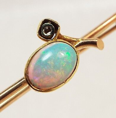 Vintage / 9ct & 14ct Gold Victorian Opal Flower Brooch / Lace Shawl Pin