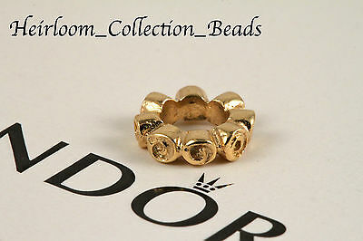 AUTHENTIC NEW PANDORA 750199 14k GOLD SMALL ROSES SPACER RETIRED! 585 ALE RARE!