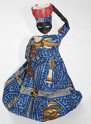 African handmade standing doll in traditional custom, fabric made. WOW !
