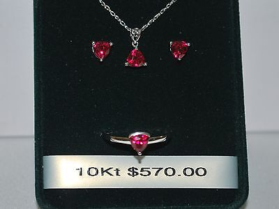 10K White gold Necklace/Pendant/Earrings/Ring w/ Ruby(July Birthstone)
