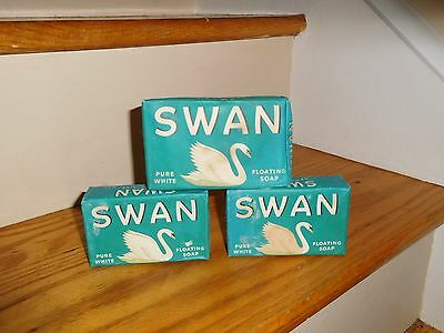 Old Lot 3 Swan Soap Bar lever bros.1940s Factory Sealed 1 Large 2 Small