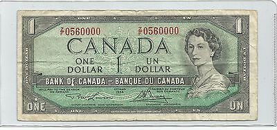1954 One Dollar Bank Note From Canada  LOOK AT SERIAL # 0560000