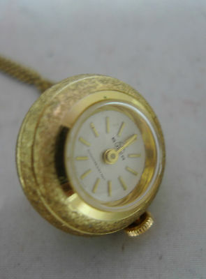 Vintage Gold Plated Buler Swiss Made Globe Watch Pendant Hand Winding 68cm