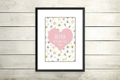 Personalised Children's A4 Print- Nursery prints-christening -new baby gift