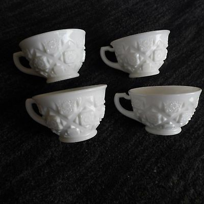 Westmoreland OLD QUILT PATTERN Milk Glass  Set of 4 Cups