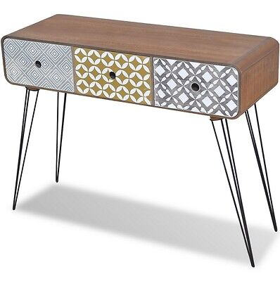Retro Console Table Vintage Style Hall Living Room Furniture 3 Storage Drawers