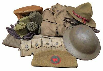 【RARE】WWI Wildcat Full Uniform-Brodie Helmet,Ammo Belt,Dress/Montana Peak Hat+!