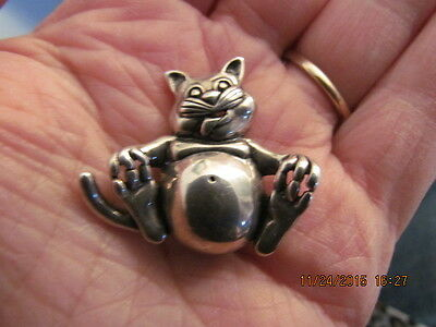 Vintage Signed Jezlaine 925 Sterling Cat Touching Toes Brooch