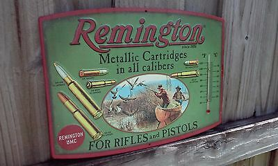Remington Metallic Cartridges Metal Thermometer 13 By 10 Inches Vintage Looking