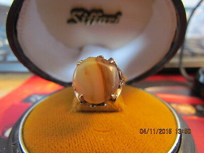 Vintage Art Deco Sterling Silver Agate Ring Size 6.5