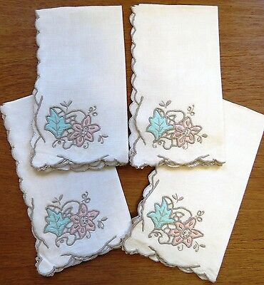 Vintage NAPKINS Set 4 Ecru Pink Green Embroidered Flower Leaf