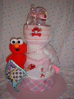 4 Tier Diaper Cake  ELMO  Baby Shower Centerpiece