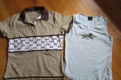 NEW Lot 2 Womens Equine Couture Beige Polo Shirt Ariat light blue tank top M
