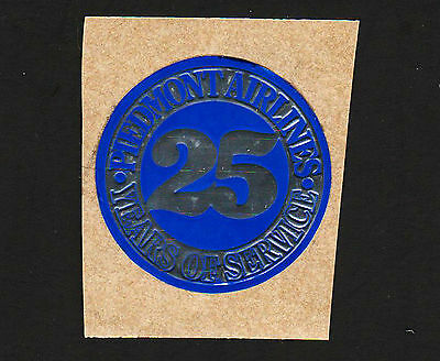 """OPC Vintage Piedmont Airlines 25th Anniversary  1 1/2"""" Embossed Foil Label"""