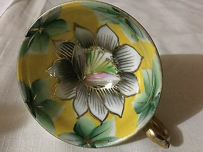Trimont Hand Painted Occupied Japan Cup Only  Yellow/orchid