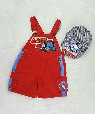Thomas The Train Overall Shorts Conductor Hat 3T