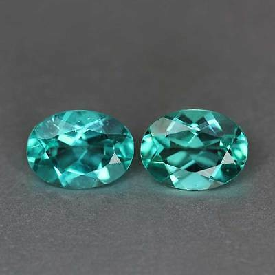 "2.44Cts""Madagascar"" Paraiba Blueish Green"" Natural Apatite Pair"" Oval Cut""PR1628"