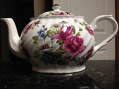 Arthur Wood & Son white and floral swirl teapot 6340