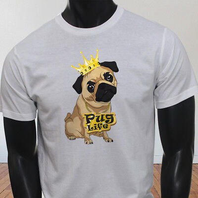 Funny Crown Dog Lovers Animal Cute Pug Life Cartoon Mens White T-Shirt