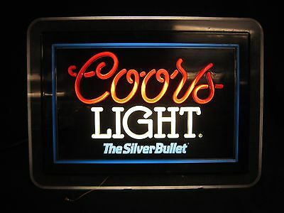 Vintage 1993 Coors Light The Silver Bullet Beer Acrylic Light Bar Sign #6225
