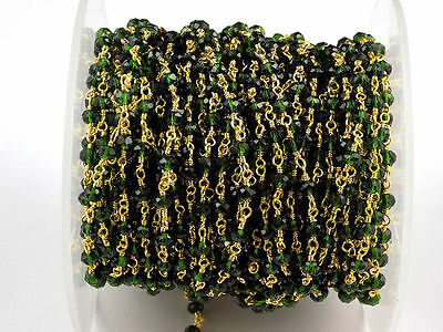 10 Feet Chrome Diopside Hydro Seed Beads Chain 3-4mm 24k Gold Plated Gemstone